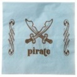 Serviette pirate bleu 33 cm par 20