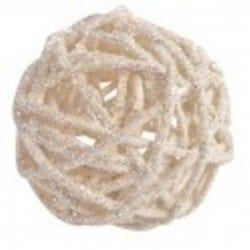 Boules décoratives blanc , en rotin par 10, 3 dimensions