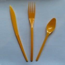 Ménagère couverts plastique jetable mandarine 30 pièces