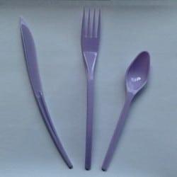 Ménagère couverts plastique jetable lilas 30 pièces