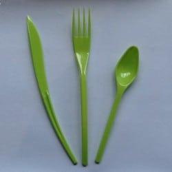 Ménagère couverts plastique jetable vert anis 30 pièces