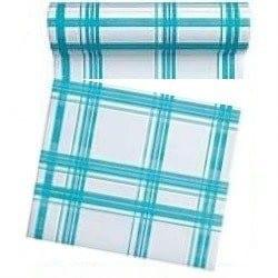 Rouleau de 30 serviettes papier jetable détachable turquoise, en intissé 23.6x23.6 cm