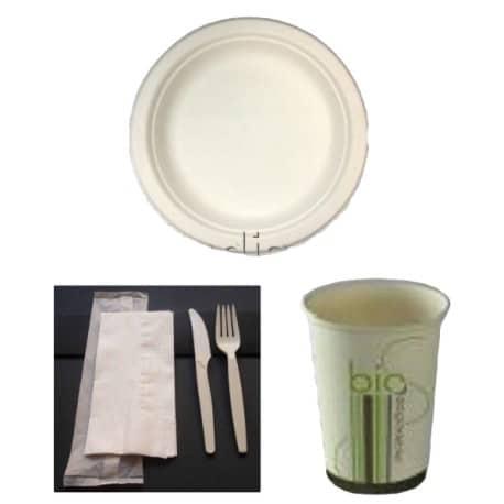 Pack bio simple rond en fibres de canne à sucre biodégradable et compostable 50 personnes