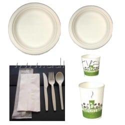 Pack bio complet rond en fibres de canne à sucre biodégradable et compostable 50 personnes