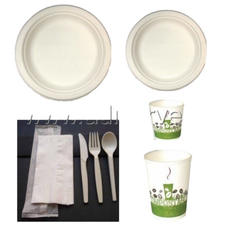 Pack rond 2-vaisselle100% biodégradable en canne à sucre 50 personnes