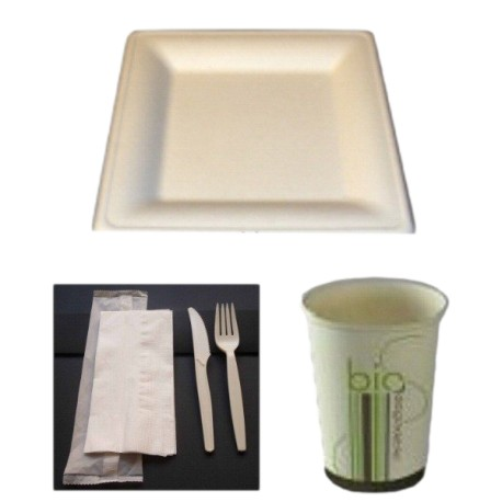 Pack bio simple carré en fibres de canne à sucre biodégradable et compostable 50 personnes
