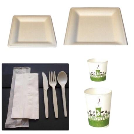 Pack bio complet carré en fibre de canne à sucre biodégradable et compostable 50 personnes