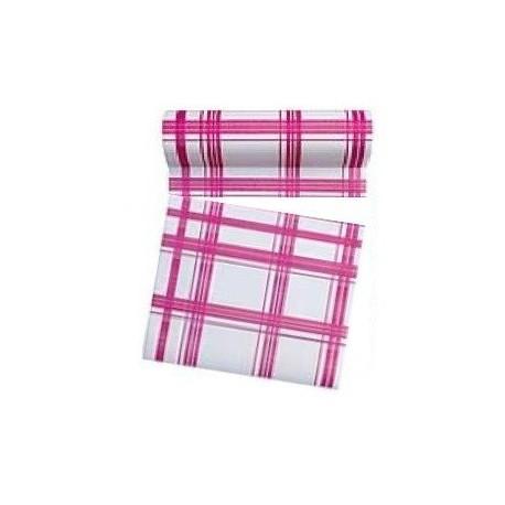 Rouleau de 30 serviettes papier jetable détachable fuchsia, en intissé 23.6 x 23.6 cm