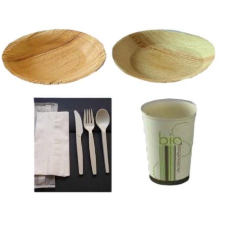 Pack rond 2-Vaisselle biodégradable en palmier