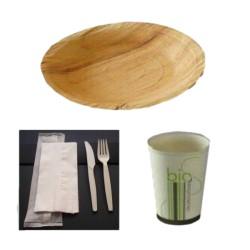 Pack rond 1-Vaisselle biodégradable pour 25 personnes