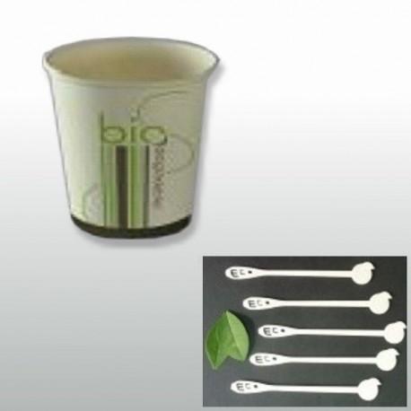 Pack café, gobelet bio et agitateurs en PLA 100% écologique pour 100 personnes
