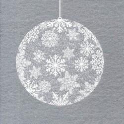 Serviette papier jetable décor boule de Noël argent, en intissé 40 cm par 20