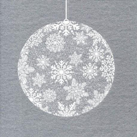 Serviette boule Noël argent papier intissé, 40 cm par 20