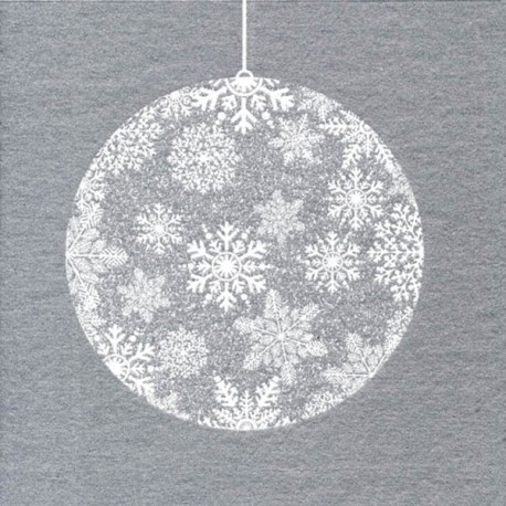 Serviette boule Noël argent papier jetable intissé, 40 cm par 20