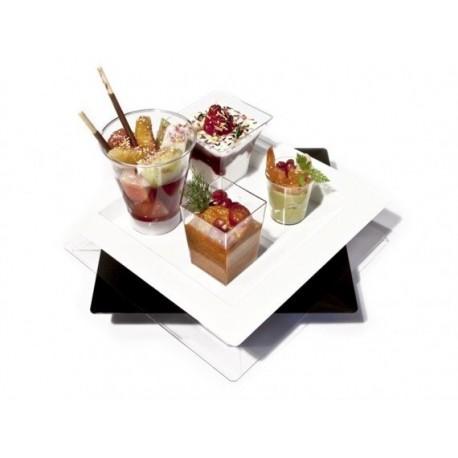 """Assiette plateau carré de présentation en plastique """"Macao"""" par 5 ou 25"""