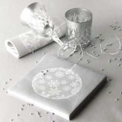 Serviette cocktail papier jetable boule de noël argent, en intissé 25x25 cm par 20