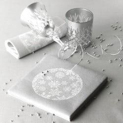 Serviette cocktail Noël papier jetable boule de Noël argent, en intissé 25 cm par 20