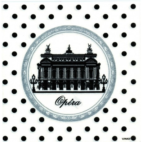 Serviette De table en papier jetable intissé motif Opéra de Paris 40x40 cm