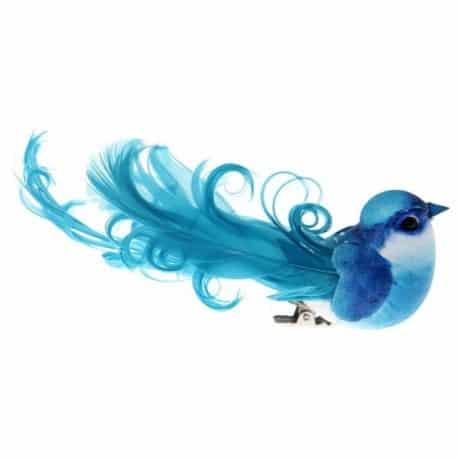 Grand oiseau à plumes sur pince turquoise par 2