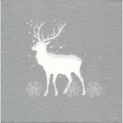 Serviette Noël papier jetable décor cerf, en intissé 40 cm par 20