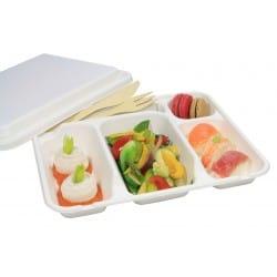 Couvercle bio pour plateau repas 5 compartiments compostable