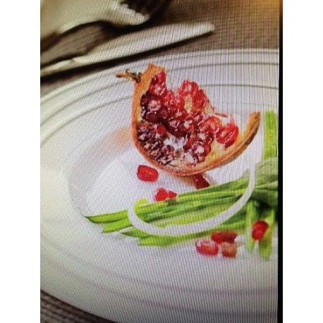 Assiette ronde 19 cm blanche liseret Or par 20