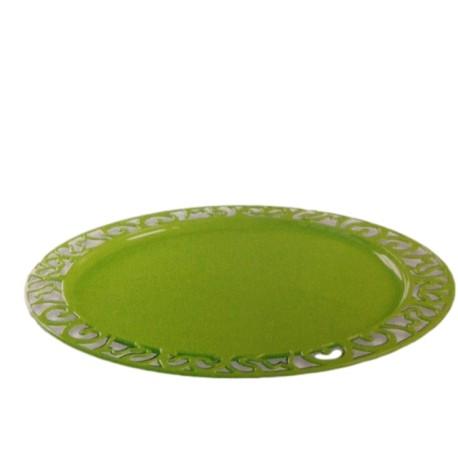 Sous-assiette ronde plastique jetable vert anis nacré 30 cm par 4