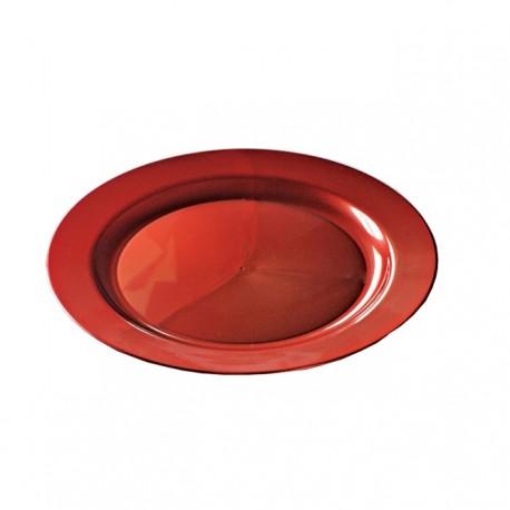 Assiette réutilisable en plastique rigide recyclable couleur carmin 24cm