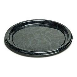 Plateau de service en plastique rond noir marbré 40 cm par 5