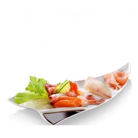Assiette triangle avec compartiment à sauce en fibre par 50