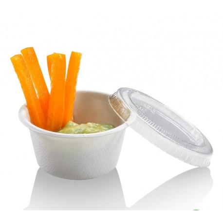Pot à sauce biodégradable compostable ronde 6 cl en fibre par 100