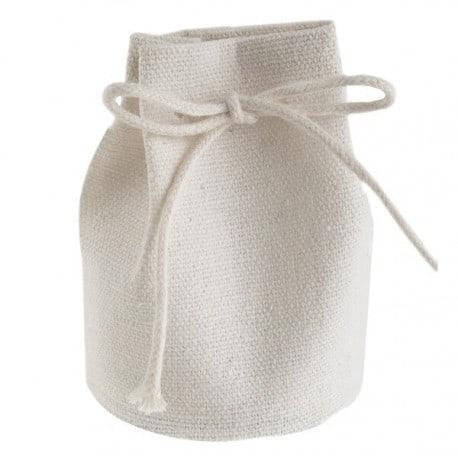 Aumônière en coton blanc par 4