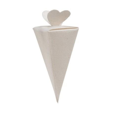Cornet blanc à dragées de 14 cm par 4