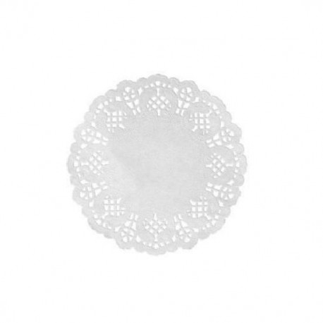 Set de table dentelle rond 35 cm blanc par 10