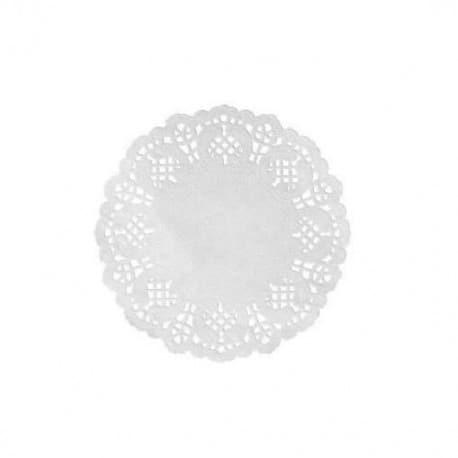 Set de table dentelle rond 35 cm blanc par 10