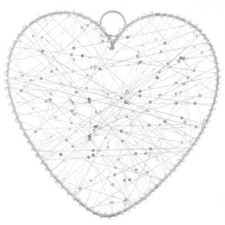 Coeur de fil blanc 20 cm, contour en métal à l'unité