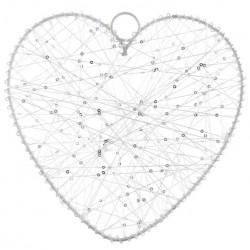 Grand coeur en fil blanc 25 cm, contour en métal blanc à l'unité