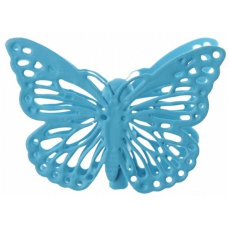 Papillon métal sur pince turquoise par 4