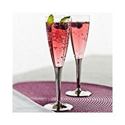 Flûte à champagne plastique jetable pied Argent métallisé par 10