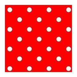 Serviette cocktail papier jetable Françoise Paviot rouge & pois blancs 25x25 cm par 20