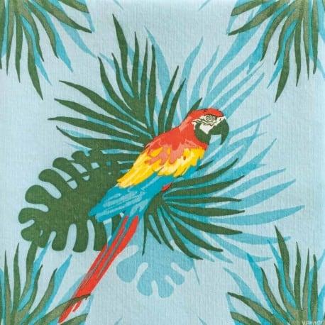 Serviette cocktail papier jetable motif perroquet en intissé 25x25 cm par 20