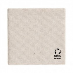 Serviette recyclée double point 33X33 cm naturel par 50