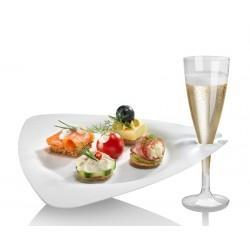 Assiette cocktail avec porte-verre en fibres de canne à sucre par 50
