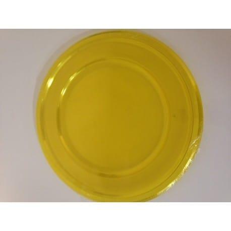 Assiette sous-assiette plastique jetable ronde 30 cm jaune par 4
