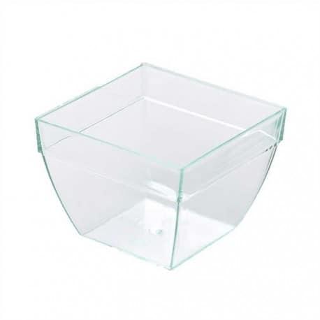 Verrine plastique transparent de forme carrée bombée par 25