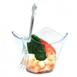 Mini fourchette clip plastique jetable pour amuse bouche