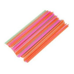 Pailles cocktail flexibles fluo multicolores en sachet par 500