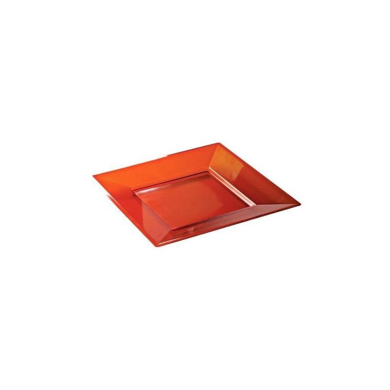 assiette jetable plastique rigide carr e rouge cristal 18 cm par 12 assiettes bols adiserve. Black Bedroom Furniture Sets. Home Design Ideas
