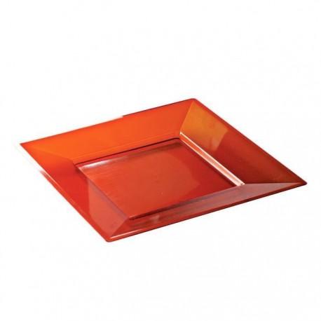 Assiette carrée rigide 18 cm couleur rouge par 12