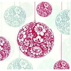 Serviette Paviot boule Noël rouge & argent 40 cm par 20